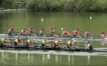 Foto: Canotaj / Echipajul feminin de 8+1 al României, aur la Cupa Mondială de la Lucerna