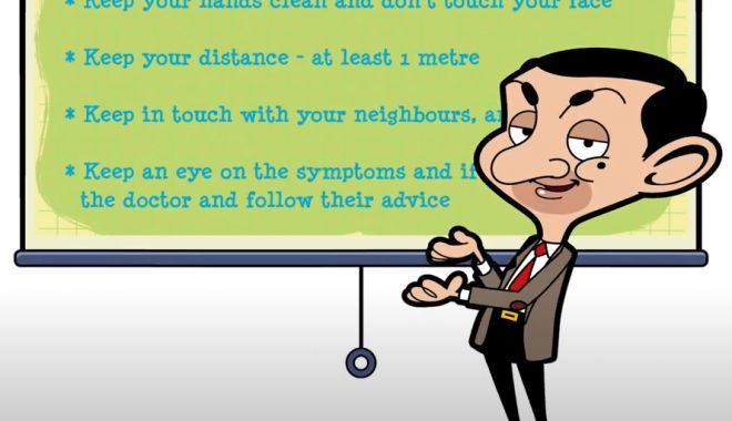 Foto: Mister Bean încurajează populația să fie în continuare vigilentă împotriva noului coronavirus