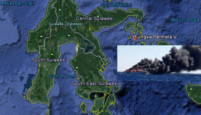 """Foto: 10 morți și 8 dispăruți în incendiul de pe ferry-boat-ului """"Fungka Permata V"""""""