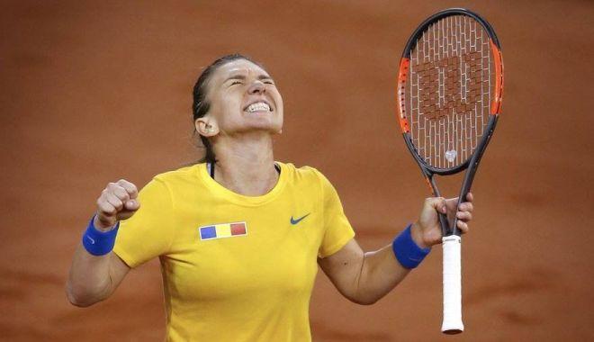 Foto: România - Franţa 2-1, în semifinalele Fed Cup, după victoria Simonei Halep