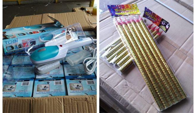 Foto: Bunuri contrafăcute şi nedeclarate la intrarea în ţară, confiscate în Portul Constanţa Sud Agigea