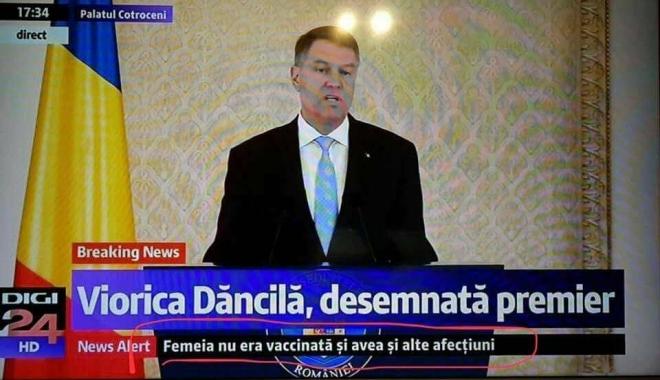 """Foto: Viorica Dăncilă, desemnată premier / """"Femeia nu era vaccinată şi avea şi alte afecţiuni"""""""