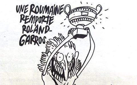 """Foto: Simona Halep, ironizată de revista franceză Charlie Hebdo: """"Fier vechi, fier vechi"""""""