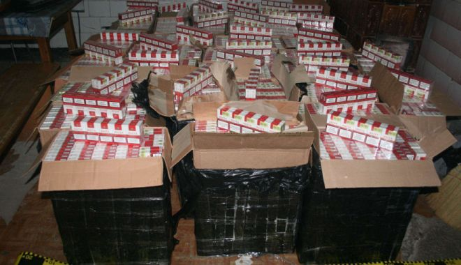 Foto: Zeci de mii de pachete cu ţigări ascunse într-un camion, descoperite în Punctul de Frontieră Ostrov