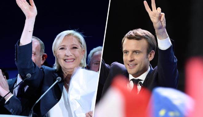 Foto: Emmanuel Macron - pro-european,  şi Marine Le Pen - anti-UE, în turul doi