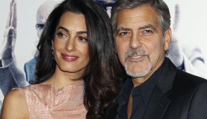 Foto: Amal, soţia lui George Clooney, însărcinată cu gemeni