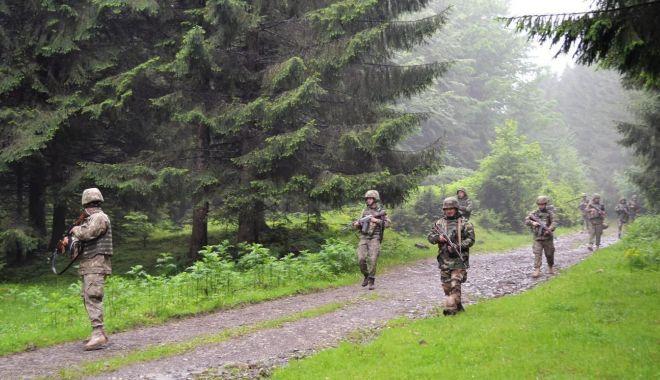 Foto: Militari români şi moldoveni, instruire în comun, în Munții Tarcăului