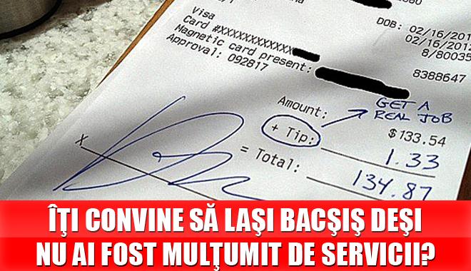 Foto: ANAT propune trecerea bacşişului PE NOTA DE PLATĂ!