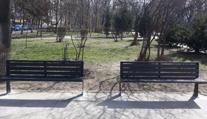Foto: Galerie foto. Bănci şi coşuri de gunoi noi, în municipiul Constanţa