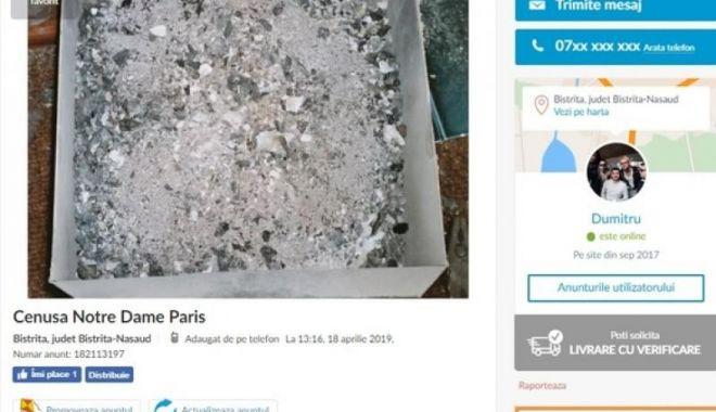 """Foto: Românii au început să vândă pe internet """"cenușă de la Catedrala Notre-Dame"""""""