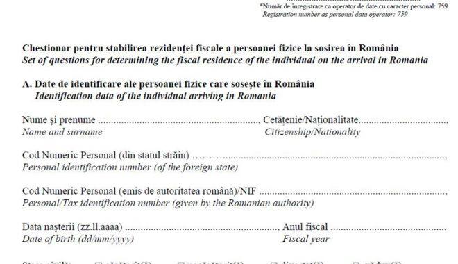 Foto: Declararea rezidenței fiscale  la plecarea sau venirea în țară