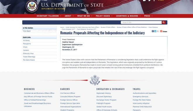 Departamentul de Stat american cere Parlamentului României să respingă legile justiției - dep-1511821505.jpg