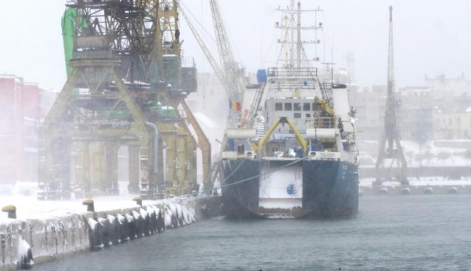 Foto: Docherii au deszăpezit portul Constanţa