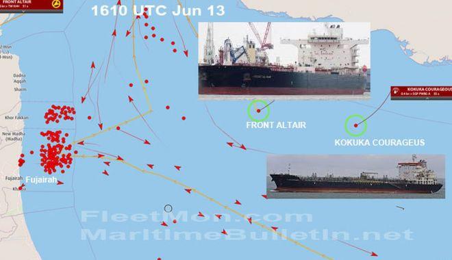 Foto: Două nave tanc au fost atacate și incendiate în Golful Oman