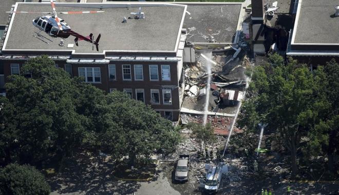 Foto: Explozie la o şcoală privată din Minneapolis. Clădirea s-a prăbuşit. Cel puţin doi morţi şi mai mulţi dispăruţi