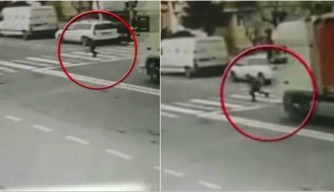 Foto: FETIŢĂ ÎN STARE GRAVĂ, după ce a fost lovită de camion! Şoferul, căutat de poliţişti