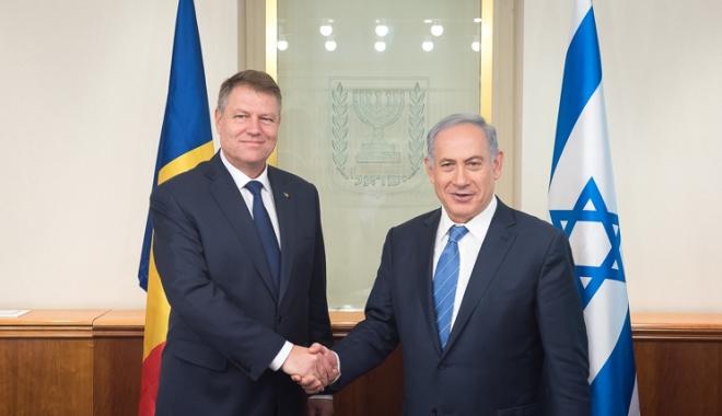 Foto: Klaus Iohannis, discuție cu Benjamin Netanyahu.