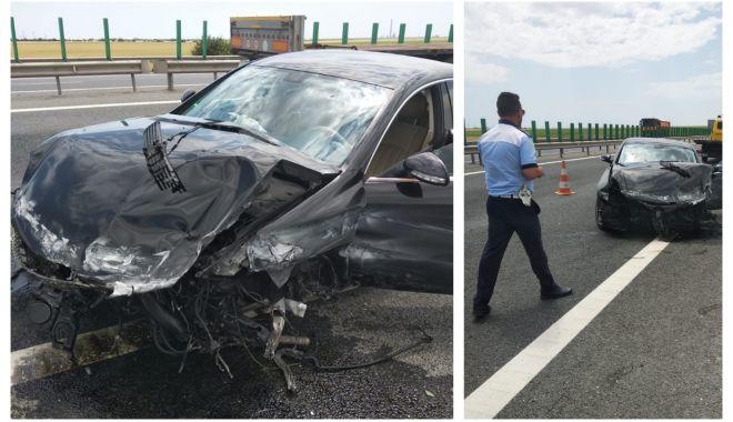 Foto: Atenţie, şoferi! O bandă de pe autostrada A4, închisă circulaţiei din cauza unui accident