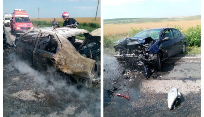 Foto: Accident cu trei victime, în judeţul Constanţa! Trei maşini implicate, una a luat foc