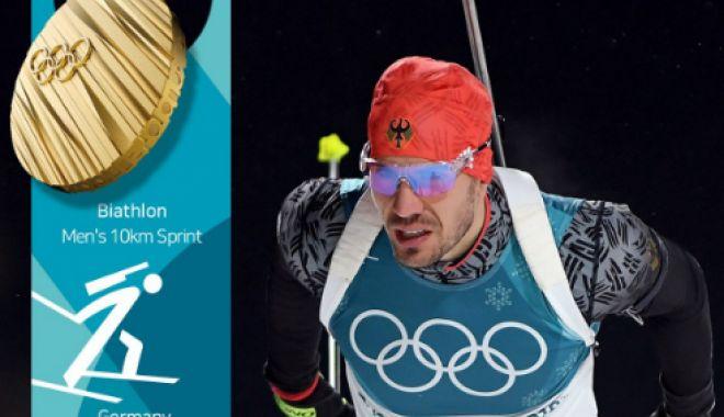 Foto: Germanul Arnd Peiffer – campion olimpic la sprint. Cornel Puchianu – locul 60