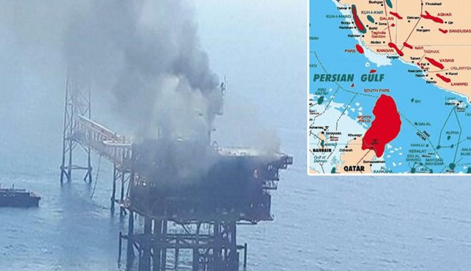 Foto: Incendiu pe o platformă de extracția a gazelor din Golful Persic