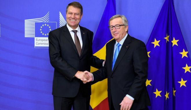 Foto: Iohannis, la întâlnirea cu Jean Claude Juncker: Poziţia României va continua să fie de susţinere a proiectului european