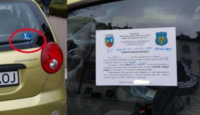 Foto: Şoferiţă amendată pentru că şi-a parcat regulamentar maşina