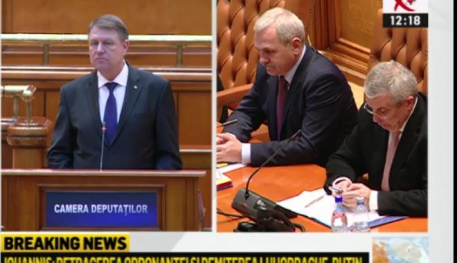 Foto: Parlamentarii PSD au părăsit sala în timpul discursului preşedintelui Iohannis