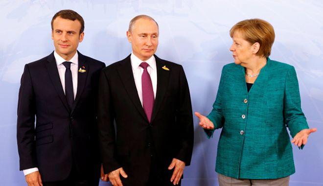 """Foto: Macron și Merkel îi cer lui Putin """"gesturi"""" pentru dialog în estul Ucrainei"""