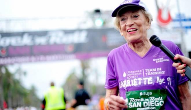 Foto: Maraton la vârsta de 92 de ani. O femeie a alergat 42 de kilometri