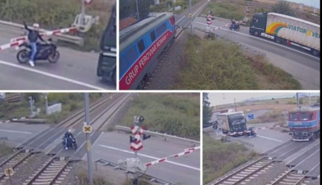 IMAGINI INCREDIBILE! Motociclist filmat făcând gesturi obscene mecanicului, în timp ce taie calea unui tren