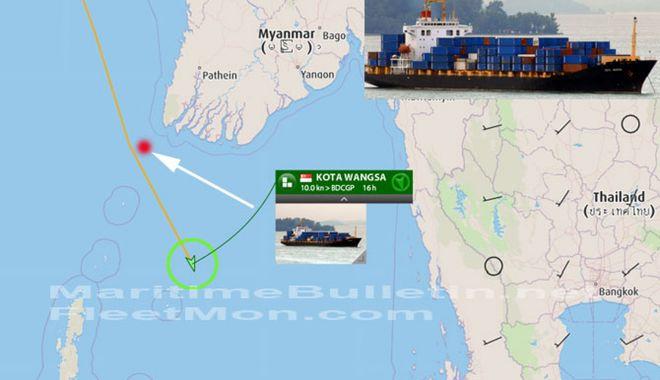 Foto: O navă a pierdut 17 containere, în Marea Andaman