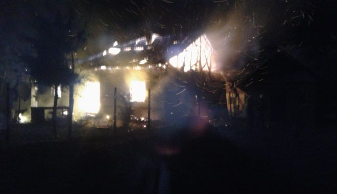 GALERIE FOTO / Incendiu puternic la Topraisar! Locuință mistuită de flăcări