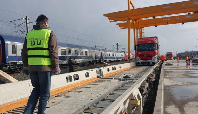 Foto: Prima cursă experimentală a unui tren Ro-La