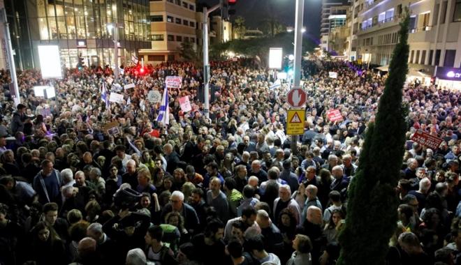 Foto: Proteste  de amploare  la Tel Aviv, împotriva corupției guvernului