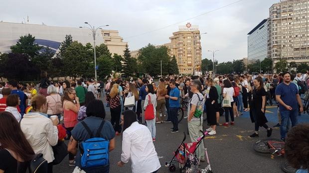 Foto: Sute de oameni au sărbătorit în Piaţa Victoriei. Au cerut demisia lui Meleşcanu