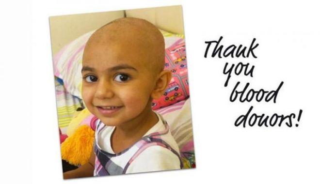 Foto: O fetiță are nevoie de un tip de sânge extrem de rar. Sunt căutați donatori în toată lumea