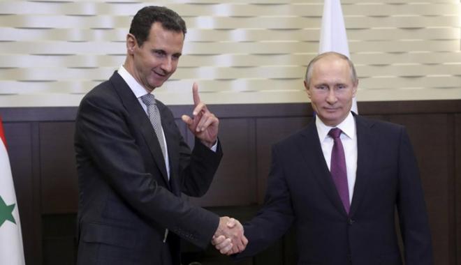 Foto: Putin l-a felicitat pe Assad pentru rezultatele în lupta împotriva terorismului