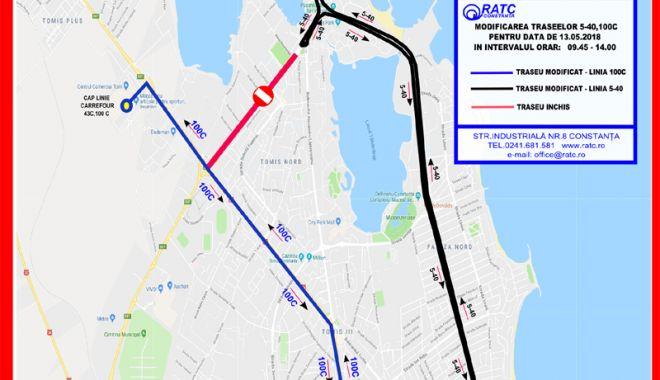 Foto: Traseele liniilor 5-40  şi 100C, deviate sâmbătă,  timp de câteva ore