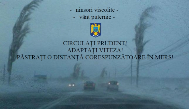 Foto: Vânt puternic şi ninsori viscolite, la Constanţa / Ce vă recomandă poliţiştii