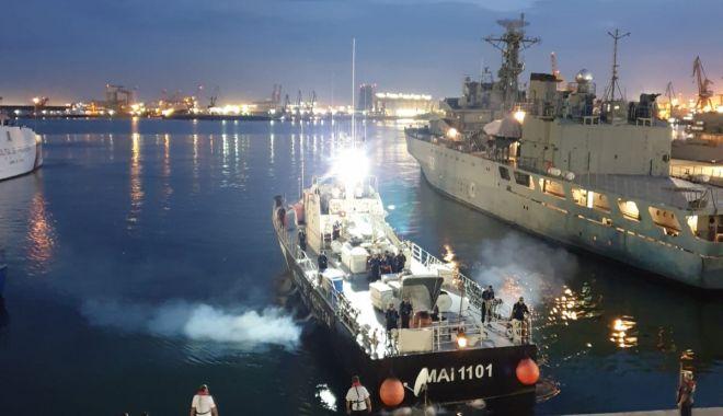 Foto: Schimbare de ștafetă în Marea Egee. Nava MAI 1104 a preluat misiunea de supraveghere a frontierelor