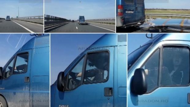 Foto: INCONŞTIENŢĂ PE AUTOSTRADĂ. Şoferul unui microbuz, filmat cu picioarele pe volan
