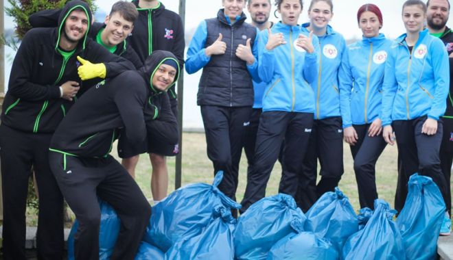 """Foto: Sportivii de la BC Athletic şi CSU Neptun au curăţat """"Constanţa noastră"""""""