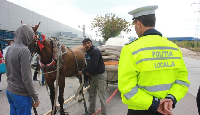 Foto: Sute de căruţaşi, amendaţi de poliţiştii locali, în Constanţa