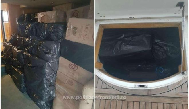 Foto: Aproximativ 250.000 de pachete țigări de contrabandă, descoperite la bordul unei ambarcațiuni