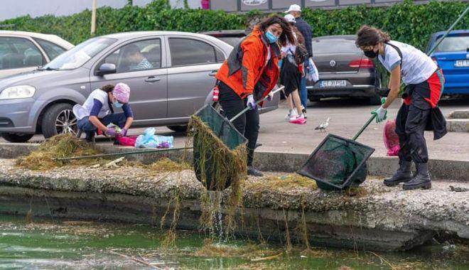 Foto: Tone de gunoaie, adunate de voluntari pe Lacul Tăbăcărie