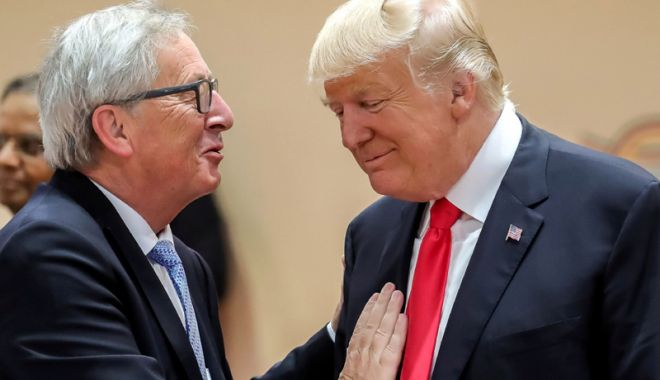 Foto: Trump şi Juncker dezamorsează conflictul comercial dintre SUA şi UE