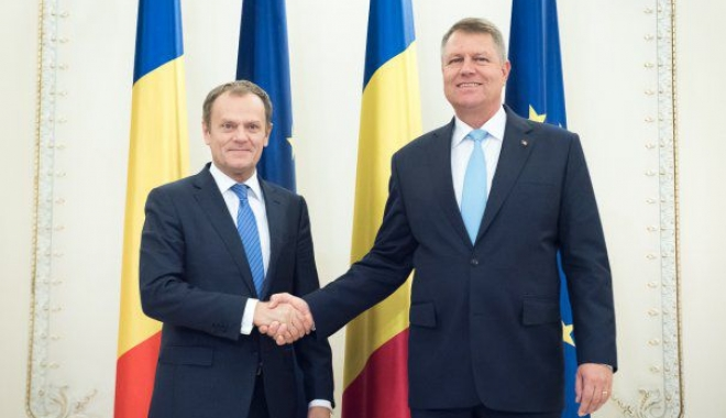 Foto: Președintele Consiliului European, Donald Tusk, primit de Klaus Iohannis