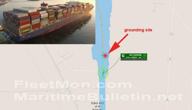 Foto: Un portcontainer a blocat Canalul Suez