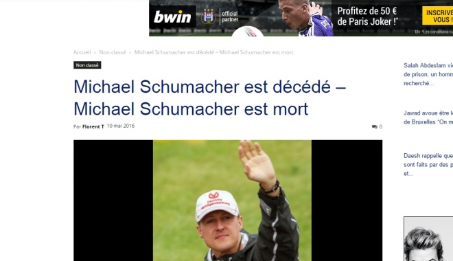 Foto: A MURIT SAU NU A MURIT? PRESA INTERNAŢIONALĂ ANUNŢĂ DECESUL LUI MICHAEL SCHUMACHER